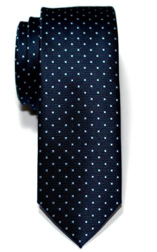 Retreez Herren Schmale Gewebte Krawatte Kleinen Punkten 5 cm - marineblau mit hellblau punkten