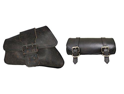 La Rosa Design 04-UP Harley Sportster/Nightster Left Single Strap Saddle Bag and Tool Bag Combo - Rustic Black