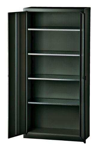 BISLEY Aktenschrank | Werkzeugschrank | Flügeltürenschrank aus Metall abschließbar inkl. 4 Einlegeböden | Stahlschrank in Schwarz