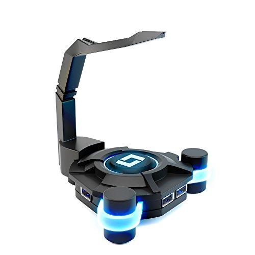 Lioncast MB10 Maus Bungee mit USB-Hub und Blue Light-Technologie (4X USB 2.0) Schwarz/Black; Maus Zubehör – Praktische Kabelführung für Ihre Maus