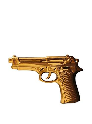 SELETTI La Mia Pistola in Porcellana Limited Gold Edition Cm.22X14X3,5