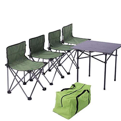 Kaikai Klapptisch Tragbare Aluminiumtisch und Stuhl Outdoor-Picknick-Lieferungen Ausrüstung Square Ultra-Licht (Color : 1 Table 4 Chair Set)