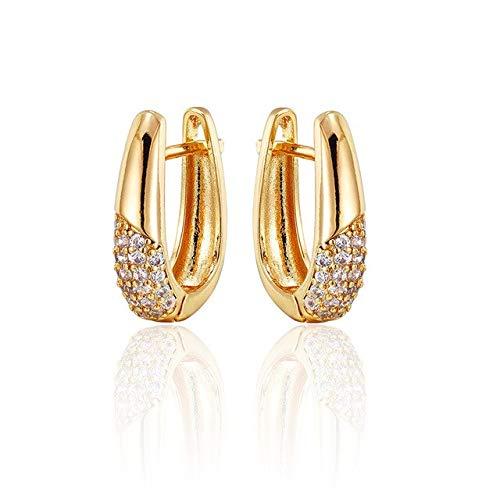HWADMW Pendientes de botón geométricos simples en forma de U con incrustaciones de circonitas, joyas de oro y plata para mujeres, regalo lindo, pendientes pequeños de oro