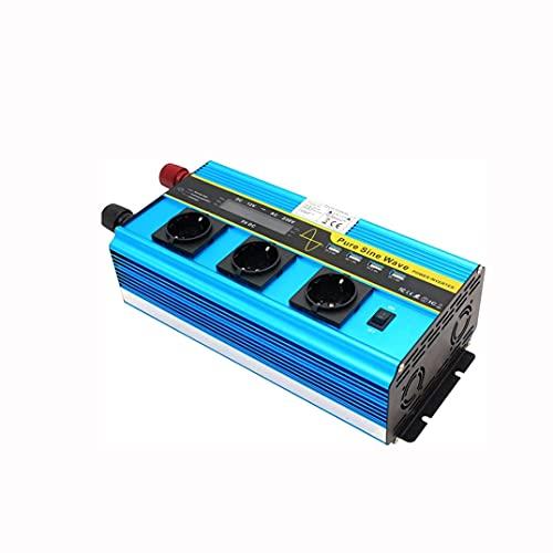 COUYY Inversor de Potencia de Onda sinusoidal Pura, inversor de Alta Potencia DC12 a AC230V 5000W, 4 Puertos USB, 3 enchufes de CA Adaptador convertidor de energía