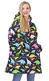 Goodstoworld Felpa con Cappuccio Coperta Sherpa Hoodie Dinosauro Felpa Oversize Donna Uomo Teens Blanket Pullover