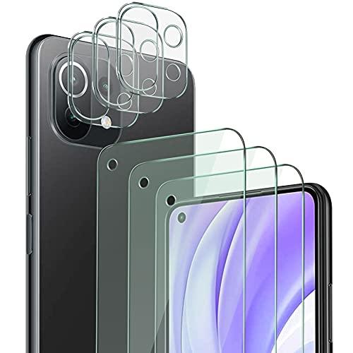 QHOHQ 3 Piezas Protector de Pantalla para Xiaomi Mi 11 Lite 4G&5G con 3 Piezas Protector de Lente de Cámara,Cristal Templado Membrana,9H Dureza - HD - Anti-Arañazos - Sin Burbujas - Fácil de Instalar