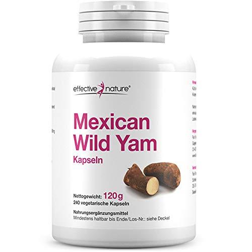 Effective Nature – Mexican Wild Yam | Pflanzenpulver Aus Wildyams (Dioscorea Villosa) | Mit Natürlichem Diosgeningehalt von 2% | 240 Vegane Kapseln