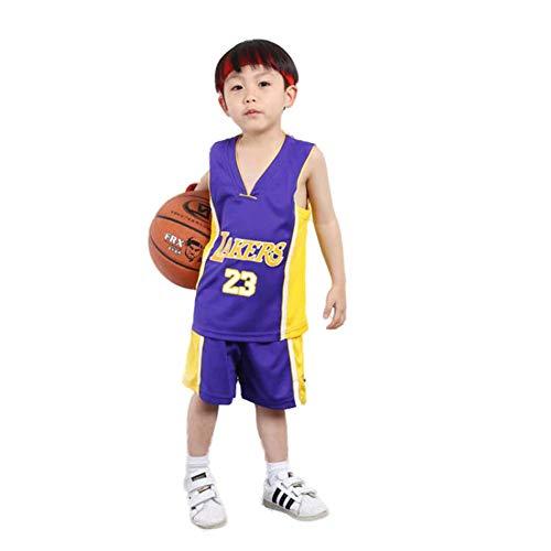 KSWX Camiseta de Baloncesto Niño Lakers # 23 Lebron James Traje De Entrenamiento De Baloncesto para Hombres Y Mujeres,Purple,S