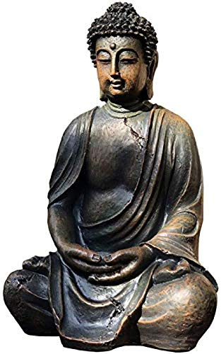 CQQO Decoración Resina Buda Estatua Estatua Estatua Estatua Lucky Buda Estatua Suministros Religiosos Decoraciones Casas Casa Casa Mal Evil Spirits 24 × 20 × 20 × 38cm Artesanía Artesanal