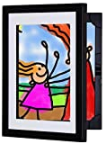 Li'l DAVINCI Art Frames: Front-Opening, EZ Store Wooden Frames That Allow You to Hold up to 50 Items in Each! (Black, 8.5 x 11)