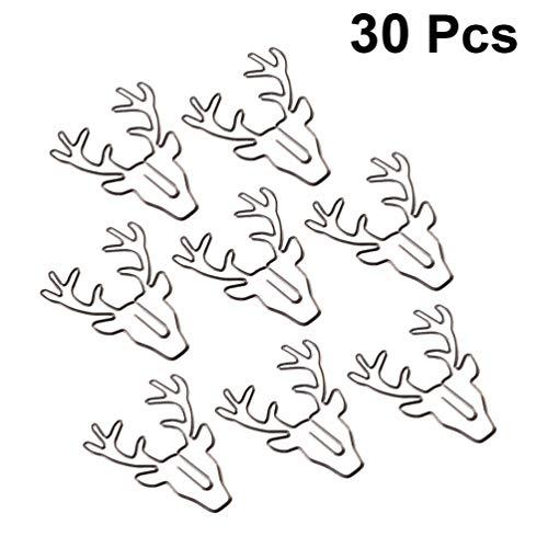 STOBOK 30 stücke metall büroklammer weihnachten hirsch geformt büroklammern elch lesezeichen clips ticket halter diy beschichtung geschenk schreibwaren