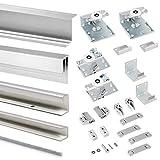 Emuca - Sistema corredero para armario 2 puertas colgadas, espesor 16 mm, tableros no incluidos, antidescarrilamiento, perfiles aluminio, Gris metalizado