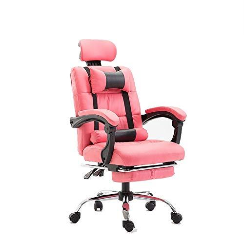 Silla Oficina Racing Respaldo Alto reclinable Estilo de Juego Que compite con Silla giratoria con reposapiés Ajustable y Lumbar y la Cabeza del Amortiguador LQHZWYC (Color : Pink)