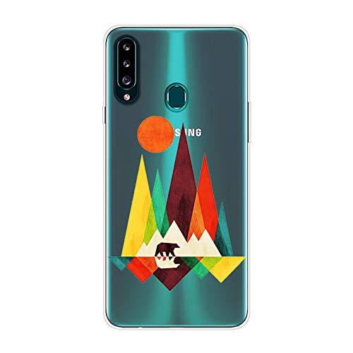 Herbests Kompatibel mit Samsung Galaxy A20S Hülle Silikon Case Transparent Silikon Schutzhülle mit Tiere Muster Ultradünn Stoßfest Rückschale Tasche Crystal Clear Soft Case,Berg
