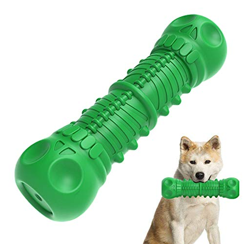 NEGTTE Dog Toys for Aggressive Chewers Indestructible Rubber Squeaky pet Toys Large Medium Dogs (Green, Skull)