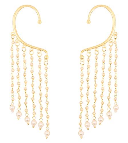 Touchstone Indische Bollywood innovative Ohrform lukrativen Look Kunstperlen Behänge lange Braut Kronleuchter Designer-Schmuck Ohrringe für Damen Gold