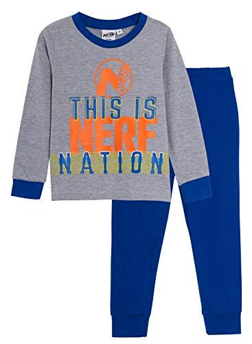 Nerf - Pigiama ufficiale per bambini, 2 pezzi, completo Grigio/blu. 7-8 Anni