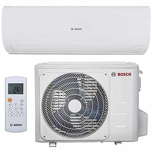 BOSCH Climate 5000 RAC Split Klimaanlage 3,5 kW 12000 BTU, für bis zu 50 qm, Invert Klimagerät Split, A++ Kühlen, A+ Heizen, inkl. MontageSet, Kältemittel R32, Fernbedienung