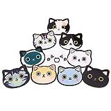 Unigift, spille in acrilico a forma di gatto con diverse espressioni, per ragazze e bambini, decorazione per borse, zaini, cappelli, giacche, idea regalo, 10 pezzi