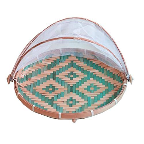 mallalah cesta de Picnic de bambú (polvo de lucha ultrasonidos) cesta pan frutas y verduras de campaña de malla protectora con gasa, azul, L