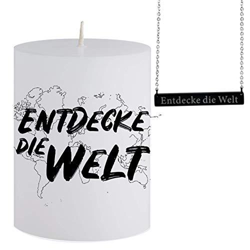 Vela con Mensaje - Descubre el Mundo - Collar de Plata Escondido con Colgante y Grabado Entdecke Die Welt - Aroma de Vela mágica - para Hombres y Mujeres