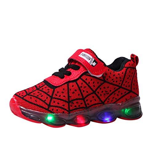 Scarpe sportive luminose a LED per bambini, con luce a fumetto, casual, da corsa, leggera, traspirante, taglia 25, colore: A-Rosso