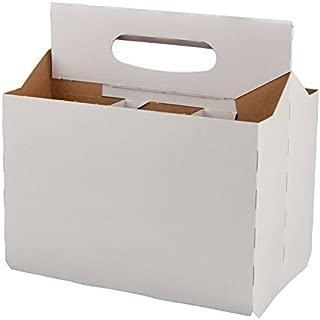 Six Pack Bottle Cardboard Carrier Boxes for 12oz Glass Beer or Soda Bottles (Pack of 24)