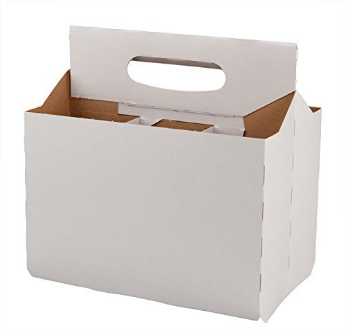 Six Pack Bottle White Cardboard Carrier Boxes for 12oz Glass Beer or Soda Bottles (Pack of 24)