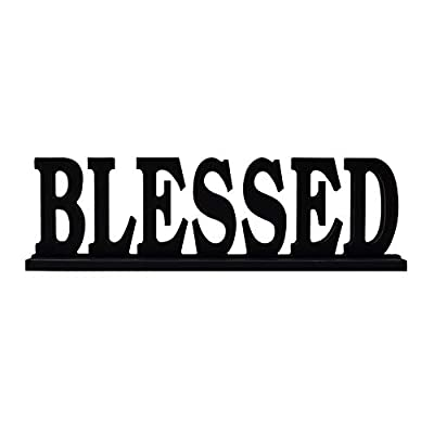 E-view Wooden Family Sign for Home Decor - Decorative Letters Tabletop Word Plaque Home Décor Accents (Blessed)