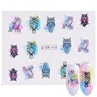 SUKTI&XIAO ネイルステッカー 1個ネイルステッカーフクロウ水カラフルな花ネイルアートデカール装飾ステンシルマニキュア、Bn410