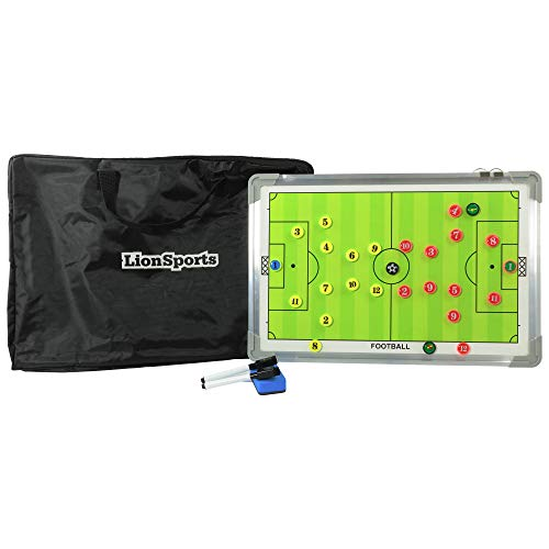 LionSports Profi Taktiktafel mit Tragetasche und Trillerpfeife - Verbessern Sie Ihre Spieler - Zusätzlich mit Zonenfeld für perfektes Stellungsspiel (Mit Boardmarker)