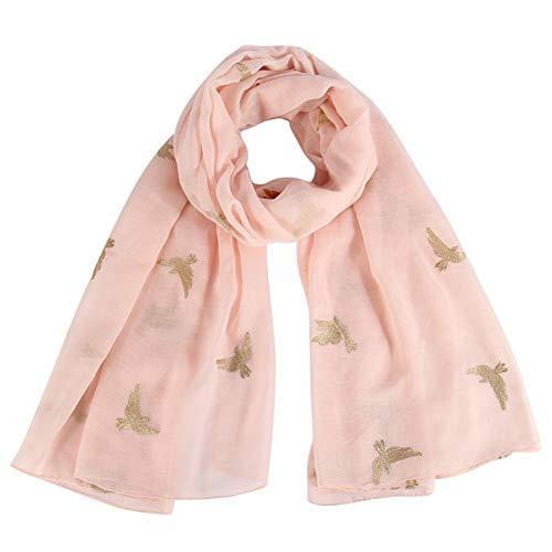 MYTJG Lady sjaal Mode Roze Zwart Grijs Vogel Print Lange Sjaal Sjaal Wikkel Sjaal Vrouw Warm En Comfortabel Warm