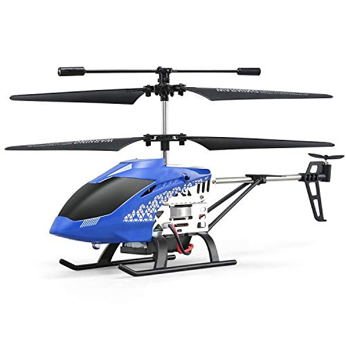 Remote Control Helicopter, Altitude Hold Flying Toy with Gyro and LED Night Light, for Kids and Beginners (Color : Blue)