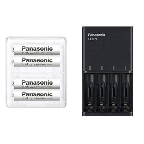【Amazon.co.jp限定】パナソニック エネループ 単4形充電池 4本パック スタンダードモデル BK-4MCC/4SA + 充電器 BQ-CC71AM-K セット