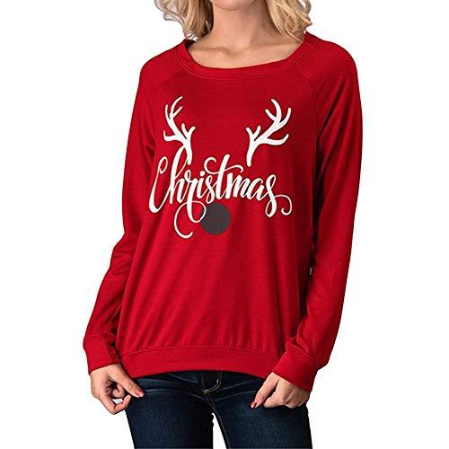 Preisvergleich Produktbild OverDose Damen Tuniken Pullover Festival Weihnachten Frauen Rentier Blusen T-Shirt Xmas Party Clubbing Schlank LangarmshirtsN-RotEU-36 / CN-M