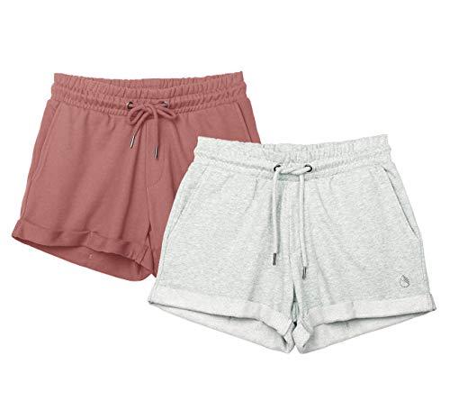 icyzone Damen Sweat Shorts 2er Pack Kurze Sporthose Gym Fitness Shorts (M, Dusty Pink/Light Gray)