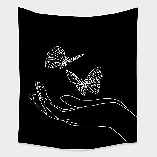 Líneas simples niña flor tapiz de pared tapiz de tarot paño de pared picnic yoga manta decoración de la habitación tela de fondo A2 180x200cm