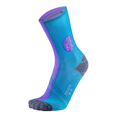 FOR Bicy Mujer Urban Cycling – Calcetines de Ciclismo, Todo el año, Mujer, Color Lilac/Turquoise, tamaño 35/38