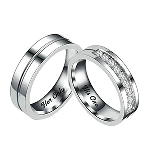 Gualiy 2PCS Promise Rings for Couples, Stainless Steel Her Only and His One...