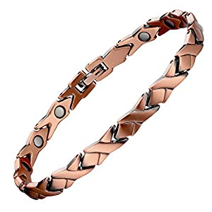 【COPPER MAGNETIC BRACELET FOR WOMEN】This slim women copper bracelet come with 3500 gauss high powered rare earth neodymium magnets(5mm updates),effect best on physical and mental well-being 【PURE COPPER BRACELET FOR WOMEN 】This copper link bracelet i...