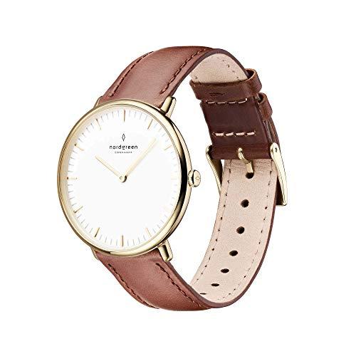 Nordgreen Native skandinavische Uhr in Gold mit weißem Ziffernblatt und austauschbarem 36mm Leder Armband Braun 11215