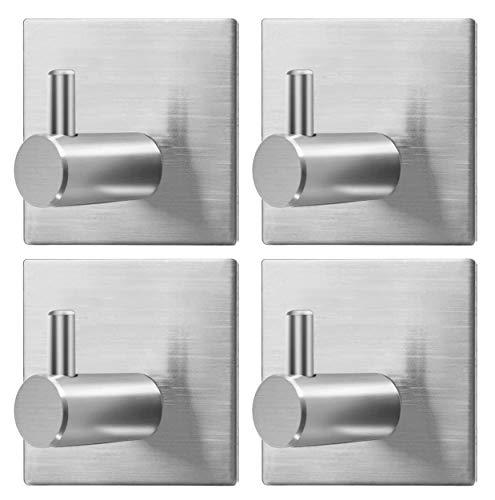4 Piezas Ganchos Adhesivos, Junlic Max 8kg Ganchos Autoadhesivos de Acero Inoxidable para Toallas de Baño, Pared,Cocina y Baño 4.5 x 3 x 4.5cm