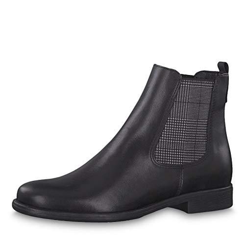 Tamaris Damen Stiefeletten 25026-23, Frauen Chelsea Boots, Damen Frauen weibliche Lady Ladies feminin elegant Women's,Black/Tartan,37 EU / 4 UK