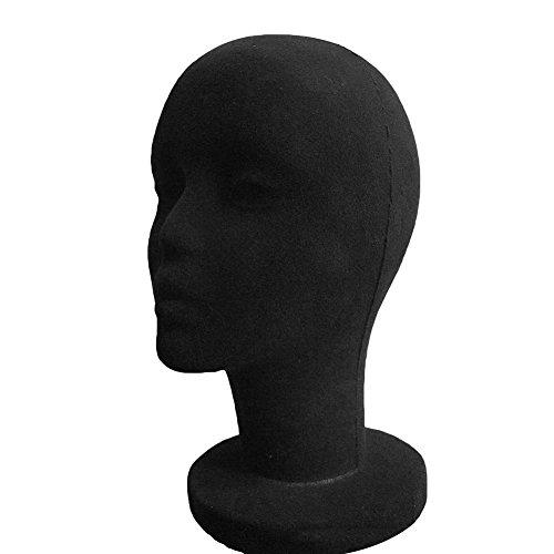 SpirWoRchlan Modellkopf, weiblich, aus Schaumstoff, Damen Styroporkopf, Brillenständer, Hutständer Kopf Perückenkopf Kopfhörer Ständer Kopf (Schwarz)