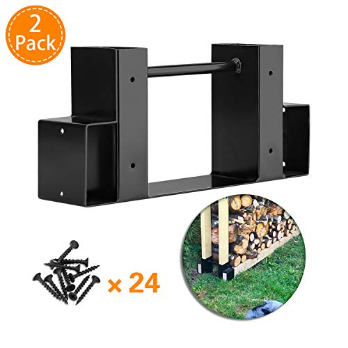 Firewood Log Rack Bracket Kit, Heavy Duty Thick Powder-coated Steel Construction and Adjustable to Any Length Diy Log Rack Brackets, Indoor/Outdoor - Black (2 Pack)