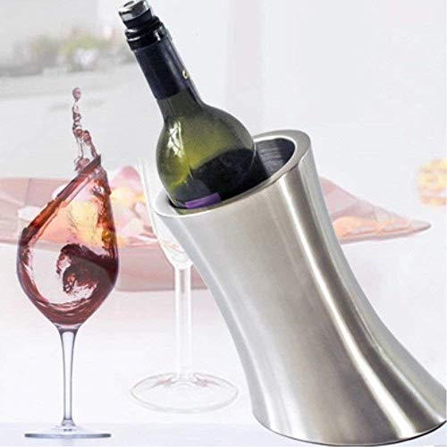 CLJ-LJ Cubos de hielo Bebidas cubo de enfriador, Cubo de hielo de vino champán, Cubo de hielo de acero inoxidable, Cubo de hielo doble de acero inoxidable, Cubo de champán