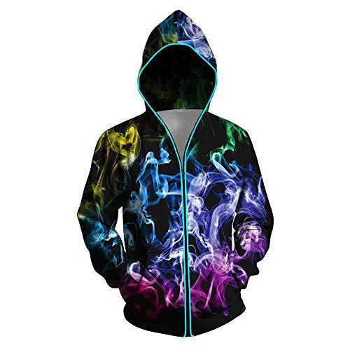 XUJIN Smoke 3D Impresión Digital Señoras Optoelectrónica Suéter con Capucha con Interruptor/Luz eléctrica Cremallera Sudadera,B,L