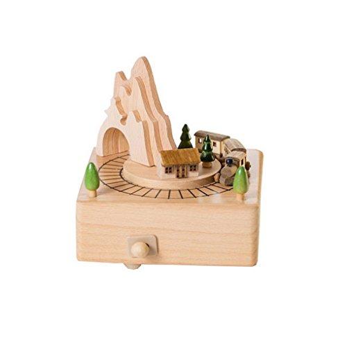 """Restbuy Spieldose mit Musik Spieluhr Holz """"Eisenbahn"""" Music Box"""