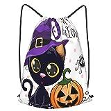 huagu Mochila Con Cordones Unisex,Halloween Pumpkins Set Cartoon Cat Magic Hat Dots,Bolso con Cordón Impermeable para Nadar/Surfear/Viajar/Hacer Senderismo/Yoga/Deportes