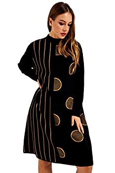 SIVORY Oversized Long Sleeve Mock Neck Sweater Dress for Women A-Cut Style Black